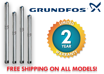 "Grundfos SQ Series, 3"" Stainless Steel Submersible Well Pumps"