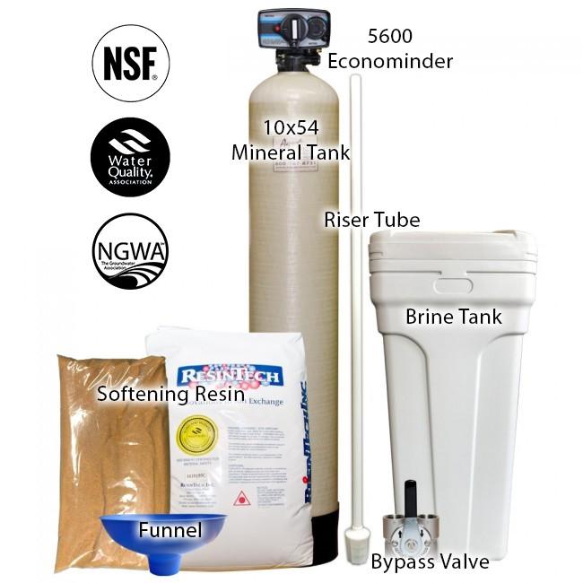 48 000 Grain Capacity Water Softener With 10 X 54 Tank Fleck 5600 Econominder Control Valve